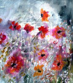 Malerei, Aquarell, Blumen,Leinwanddruck,Kunst
