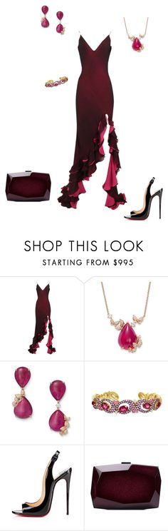 """Nora's set for Meg and Carlisle's Wedding"" by thesassystewart on Polyvore featuring Judith Ripka, Christian Louboutin and Monique Lhuillier"