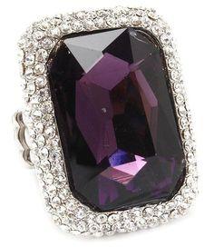 Big Cocktail Stretch Ring C08 Clear Crystals Purple Glass Stone Evening Bridal | eBay