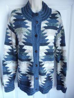 Peruvian Connection Kaffe Fassett L Sweater Button Down Cardigan Artsy Geometric