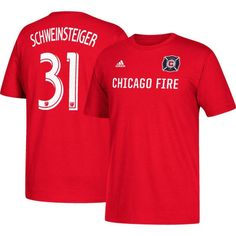 adidas Men's Chicago Fire Bastian Schweinsteiger #31 Player Red T-Shirt, Size: Medium, Team