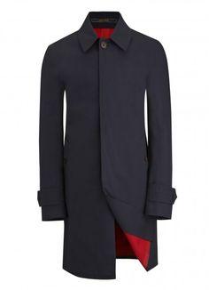 Navy Crombie Rainmac, Fully Waterproof - Raincoats - Menswear - Crombie. £750.00