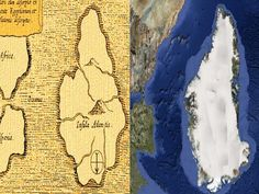 Ancient map of Atlantis compared with the outline of Greenland! Interesting! Greenland is in the Atlantic!