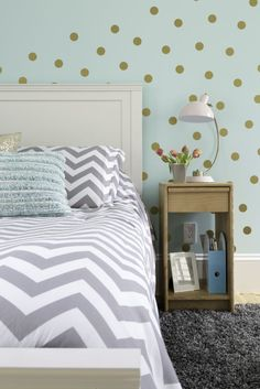 Teal and Gray Big Girl Room with Confetti Gold Dot Decal Wall - love the whimsy that those decal designs add!