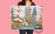 Printable Cherry Blossom trees Print in the style of paint by | Etsy