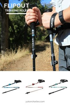 Our Flipout Trekking Poles... lightweight, collapsible trekking poles for the ultimate balance of function + storability. Deployment system is quick + easy to fully extend + is extremely stable in use. Includes a Fast Lock:tm: adjustment system for added adjustability. Ergonomic EVA molded grip for comfort + a more positive pole plant. Includes trekking baskets. Available in carbon or aluminum construction.