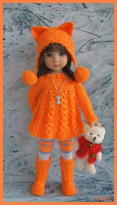 Things that I like: Crochet Doll Dress, Crochet Barbie Clothes, Knitted Dolls, Girl Doll Clothes, Girl Dolls, Ag Dolls, Baby Knitting, Crochet Baby, Knitting Dolls Clothes