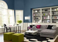 fresh, modern living room - lucerne AF-530 (walls), paper mache AF-25 (trim & wainscoting), storm AF-700 (bookshelf insets)