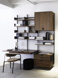 Simple and elegant heirloom hand-made modular furniture. This home office configuration is made from solid walnut with dovetail jointery and blackened cold-rolled steel. System Furniture, Modular Furniture, Handmade Furniture, Furniture Projects, Contemporary Furniture, Furniture Design, Modular Office, Modular Shelving, Minimalist Furniture