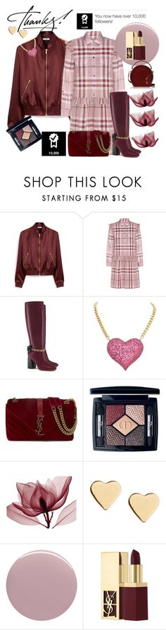 """""""Grateful for 10,000"""" by ellenfischerbeauty ❤ liked on Polyvore featuring Mulberry, Burberry, Tory Burch, Yves Saint Laurent, Christian Dior, Lipsy, Nails Inc. and Bertoni"""