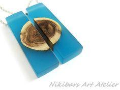 Glow In Dark Twin Necklace Blue Resin Wood by NikibarsNatureArt