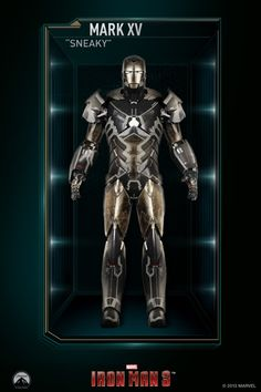 """The Mark 15 (Mark XV), also known by its codename as """"Sneaky"""", is a Stealth Suit, and was one of several new Iron Man Armors created by Tony Stark. Marvel Comics, Hq Marvel, Marvel Heroes, Marvel Cinematic, Chibi Marvel, Iron Men, All Iron Man Suits, Spiderman, Batman"""