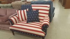 I Found this Beauty in Hot Springs,Arkansas... The Donor claimed she had it covered in American Flag...Because a President sat in it??? I wonder who?