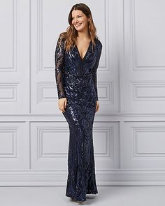 Mesh & Sequin Deep V Gown | LE CHÂTEAU Bridal Party Dresses, Bridesmaid Dresses, Bridesmaids, Mother Of The Bride, Fashion Earrings, Sequins, Gowns, Formal, My Style