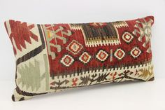 Turkish Lumbar Kilim Pillow Cover 12 x 24 by kilimwarehouse Bolster Pillow, Kilim Pillows, Throw Pillows, Handmade Pillow Covers, Vintage Pillows, Oriental, Reusable Tote Bags, Unique Jewelry, Handmade Gifts