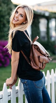 #summer #outfits Black Top + Skinny Jeans + Brown Backpack