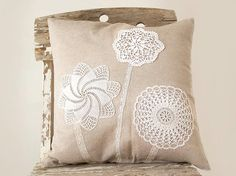 Cream Pillow Cover With Crochet Doily Applique decorative Shabby chic Rustic country Pillow OOAK