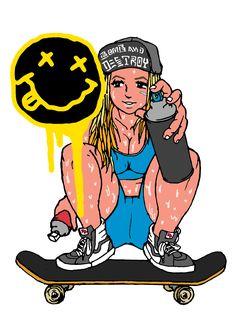 BOARD,SWEAT&GIRLS Pt.3 ...LOVE, SKATE, GRAFFITI, SNEAKERS! #skateboard #graffiti #skate #girl #sneaker #illsutration #イラスト
