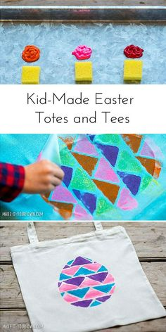 Let the kids personalize Easter t-shirts, bags, towels, or anything you like with this fun and easy painted technique!