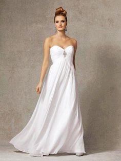 Buy Ruched Eempire Bodice Sweetheart Neckline Beaded Chiffon Gown Beach Wedding Dress