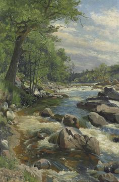Peder Mork Monsted )Danish, 1859-1941, A Fast Flowin River, 1894, oil on canvas