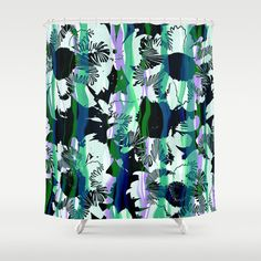 Daisy flowers and striped shower curtain modern by NewCreatioNZ
