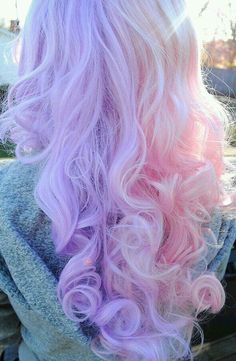 Curly Pastel Pink and Purple Hairstyle. Sah fluffyy~~!