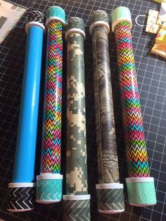 Tin Whistle Holders - ¾ inch PVC pipe with duct tape. The caps are lined with felt to cushion the whistle and covered in washi tape as removing the price tags was tedious drill holes so that it won't mold and rust. #classicalconversations
