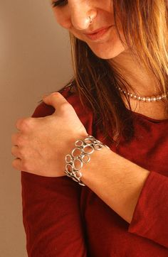 Bubble Bracelet  Satin Brush  Stainless Steel by steelnstones, $45.00
