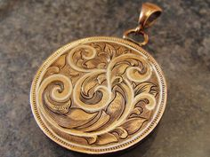 Hand Engraved Art Nouveau Coin Penny For Your Thoughts with Silver Inlay Coin Jewelry, Metal Jewelry, Jewelry Art, Jewelry Design, Jewelery, St Michael Pendant, Engraved Knife, Silver Dimes, Antique Locket