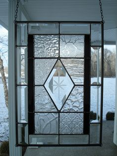 Stained Glass Window Panel Bevels Textured Clears by TheGlassShire, $95.00