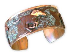 Olive Patina Solid Brass Galloping Wild Horse Cuff Bracelet. Olive Patina Solid Brass Galloping Wild Horse Equestrian Cuff Bracelet. 1 inch wide Cuff Style Bracelet. One Size Fits All. Patina sealed with invisible poly coating. Solid brass - easily shaped to fit each wrist.