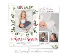 Send a Christmas Birth Announcement with this The More the Merrier template! Announce the arrival of your new bundle of joy to family and friends along with your family Christmas card! Edit the template in minutes and print today. No software needed! View MORE Christmas Cards HERE Merry Christmas Photos, Family Christmas Cards, Holiday Cards, Holiday Birth Announcement, Birth Announcement Template, Christmas Card Template, Printable Christmas Cards, Printable Designs, Card Templates