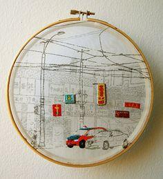 Shuyu Lu, Chinatown - Screen printed, hand embroidery