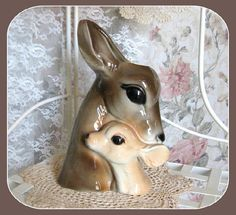 Vintage Collectible Planter, Deer, Ceramic, Vase, Retro, Mid Century, Royal Copley, Woodland Animal