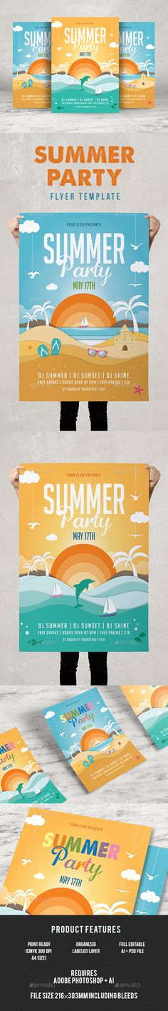 Happy Birthday Party Flyer Template PSD Flyer Templates - summer flyer template
