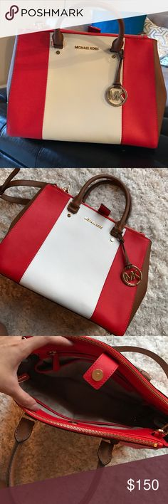 MK color block Red, white, tan MK purse - excellent condition, never worn. Got it as a gift! Michael Kors Bags Satchels
