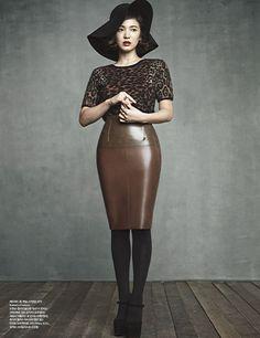 Burberry semi-transparent latex pencil skirt with cheetah print top.