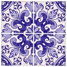 Genuine, but expensive Portuguese tile.  Galleries - A1-Portuguese tiles - 66-Coimbra 4 tiles Azul