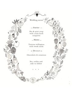 Wedding stationery. Wedding menu by Katt Frank www.kattfrank.com