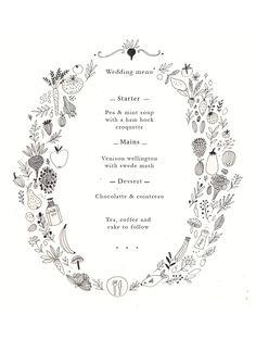 Wedding stationery. Wedding menu by Ryn Frank www.rynfrank.co.uk