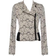 Embroidered Moto Jacket ($120) ❤ liked on Polyvore