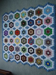 Grandmothers Flower Garden. This was the most challenging and timely quilt I have made to date.