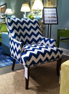 Love this beautiful deep blue and white chevron chair found at the CR Laine showroom at Market. LOVE CR Laine's collection and always such a gorgeous showroom.