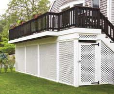 Consider what you might stow away securely under your porch and you will see how beneficial lattice screening would be.  The handsome, substantial, crisscross lattice is handcrafted in cellular PVC, an advanced material that looks like natural wood, yet is low maintenance. The gate features rugged, hot-dipped galvanized latches, to provide years of trouble-free use.