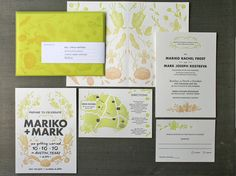 Letterpressed, hand-drawn and hand-lettered. Custom ombre wedding invitation design for Mark and Mariko Garden Wedding Invitations // design by Julia Kostreva, printed by Studio on Fire