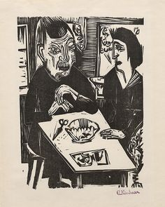 Collection Online | Ernst Ludwig Kirchner. Old Woman and Young Woman (Alte und Junge Frau). 1921 - Guggenheim Museum