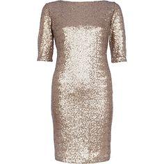 Gold sequin bodycon dress