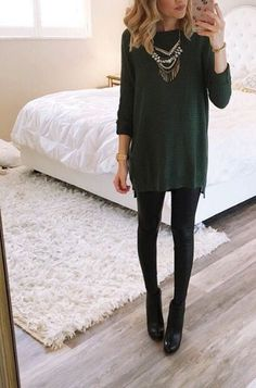Green and black sweater dress with leggings, black leggings outfit fall, black pants outfit Leggings Outfit Winter, Legging Outfits, Sweater Dress Outfit, Dresses With Leggings, Black Pants Outfit Dressy, Black Booties Outfit, Sweater Dress With Leggings, Green Sweater Dress, Green Tunic