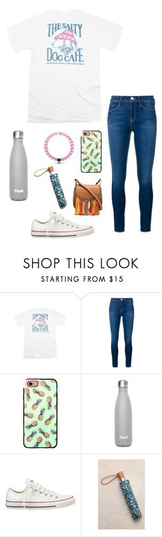 """Ootd// downpour of rain right now"" by eadurbala08 ❤ liked on Polyvore featuring Frame Denim, Casetify, Champion, Converse, Anthropologie and Chloé"